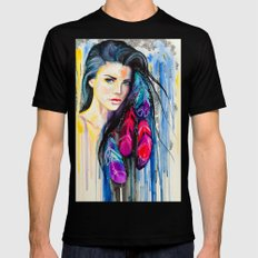 Colorful Feathers  SMALL Mens Fitted Tee Black