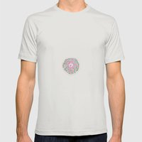 Floral circle Mens Fitted Tee Silver SMALL