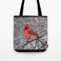 The Snow Cardinal Tote Bag