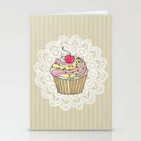 Girly Pink Cute Kawaii Cupcake Lace Stripe Pattern Stationery Cards