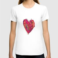 Funky Heart Womens Fitted Tee White SMALL