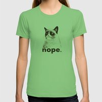 NOPE - Grumpy cat. Womens Fitted Tee Grass SMALL