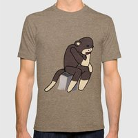 Sock Monkey Thinking Mens Fitted Tee Tri-Coffee SMALL