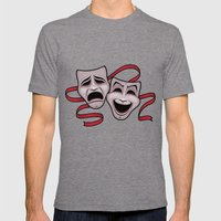 Comedy And Tragedy Theater Masks Mens Fitted Tee Tri-Grey SMALL