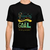 Remember why you set this goal in the first place - hand drawn typography motivational art Mens Fitted Tee Black SMALL