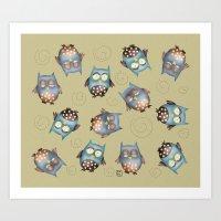 owls Art Prints featuring Owls by Catru