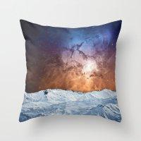 Cosmic Winter Landscape Throw Pillow