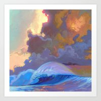 Sunset surf break Art Print