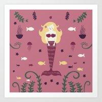 Mermaid Love take two Art Print