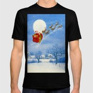 Santa And His Flying Rei… Mens Fitted Tee Black SMALL
