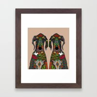 Great Dane Love Beige Framed Art Print