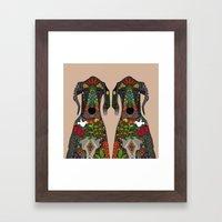 Great Dane Love Beige Framed Art Print