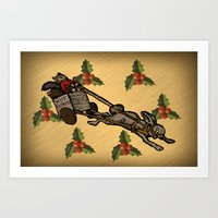 Christmas on the Nut Express Art Print