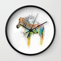 Drippy Jazzy Zebra by Jai Johnson Wall Clock