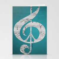 Music & Peace Aqua Sheets Stationery Cards