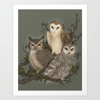 owls Art Prints featuring Owls by Jessica Roux