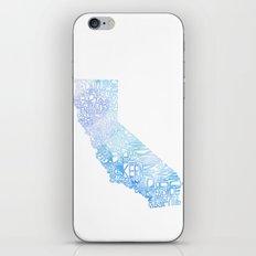 Typographic California - Blue Watercolor iPhone & iPod Skin