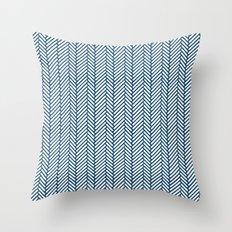 Herringbone Navy Throw Pillow