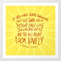 Roald Dahl on Positive Thinking Art Print