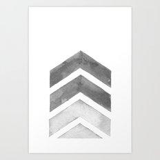 Grey Watercolor Chevron Art Art Print