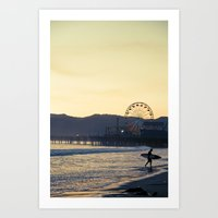 Santa Monica Surfer Art Print