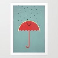 Watermelon Umbrella Art Print