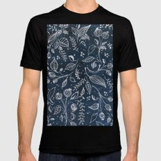 Metallic Floral Mens Fitted Tee Black SMALL