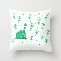 Swimming in the woods Throw Pillow