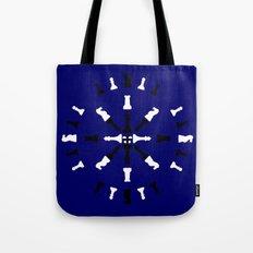 Chess Piece Design - Black and White Tote Bag