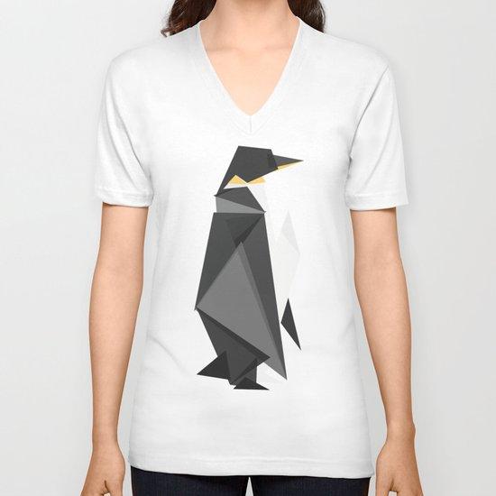 Fractal geometric emperor penguin V-neck T-shirt
