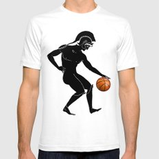 Hoplites Playing Basketball Mens Fitted Tee White SMALL