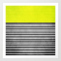 Yellow Gray Stripes Art Print