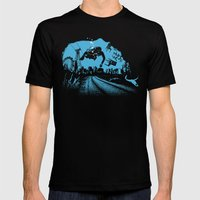 Deep blue Mens Fitted Tee Black SMALL
