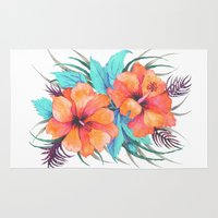 TROPICAL FLOWER {orange … Rug