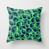 Lime & Navy Watercolor Cells Throw Pillow