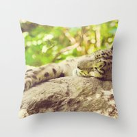 Sleepy Snow Leopard  Throw Pillow