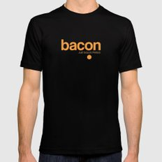 Bacon. Just bacon. Period. Black SMALL Mens Fitted Tee