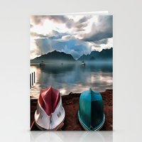 Hulls of Boats And Marmaris Winter Seascape Stationery Cards