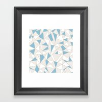 Ab Nude Lines with Blue Blocks Framed Art Print