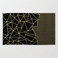 Ab Outline Grid Black and Gold Rug
