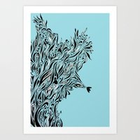 Shrubs in Blue Art Print