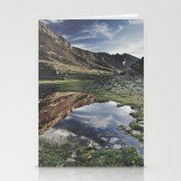 Dream Lake at the mountains. Retro Stationery Cards