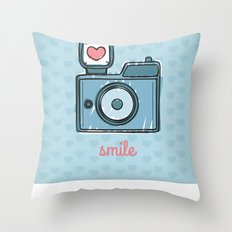 Blue Smile Throw Pillow