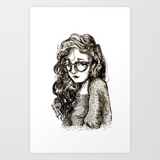 Girl with glasses Art Print