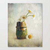 Daisies In A Handmade Va… Canvas Print