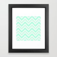TWO-TONE MINT CHEVRON Framed Art Print