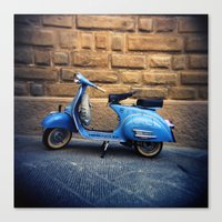 Blue Vespa, Italy Canvas Print