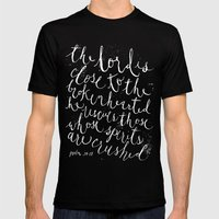 PSALM 34:18 (Black and White) Mens Fitted Tee Black SMALL