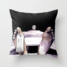 Toe Tag Throw Pillow