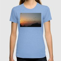 migrating birds Womens Fitted Tee Tri-Blue SMALL